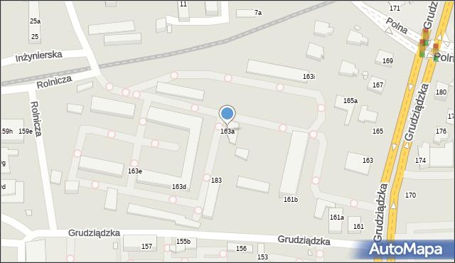 Toruń, Grudziądzka, 163a, mapa Torunia