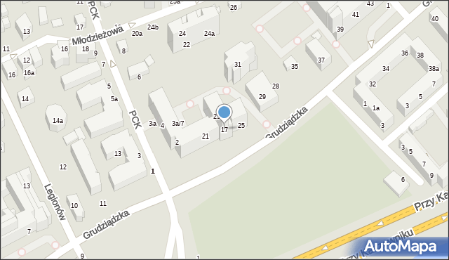 Toruń, Grudziądzka, 17, mapa Torunia