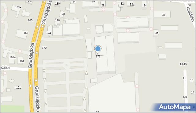 Toruń, Grudziądzka, 172a, mapa Torunia