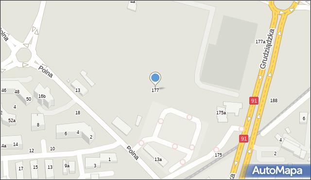 Toruń, Grudziądzka, 177, mapa Torunia