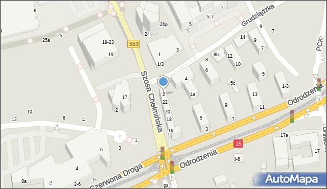 Toruń, Grudziądzka, 2, mapa Torunia