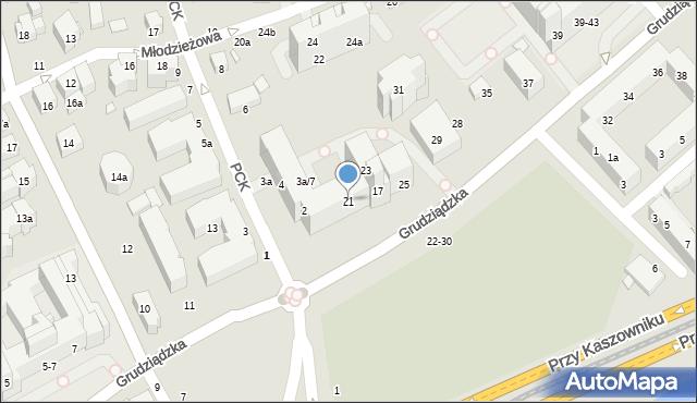 Toruń, Grudziądzka, 21, mapa Torunia