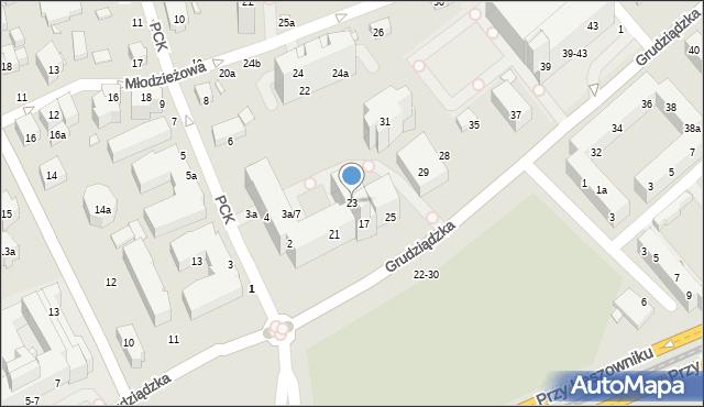 Toruń, Grudziądzka, 23, mapa Torunia