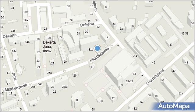Toruń, Grudziądzka, 3a, mapa Torunia