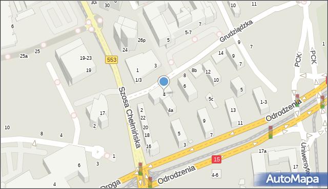 Toruń, Grudziądzka, 4, mapa Torunia