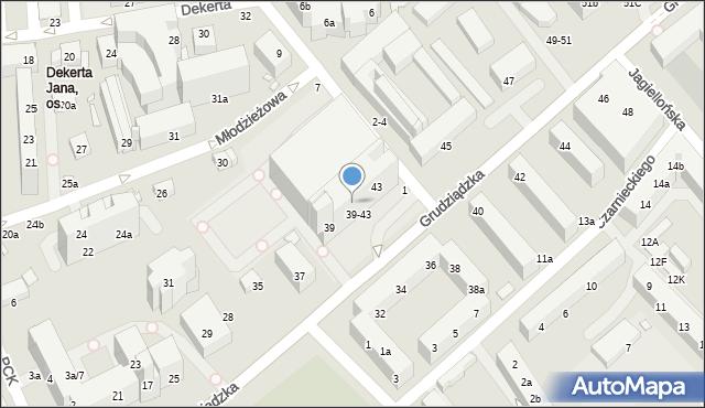 Toruń, Grudziądzka, 41, mapa Torunia
