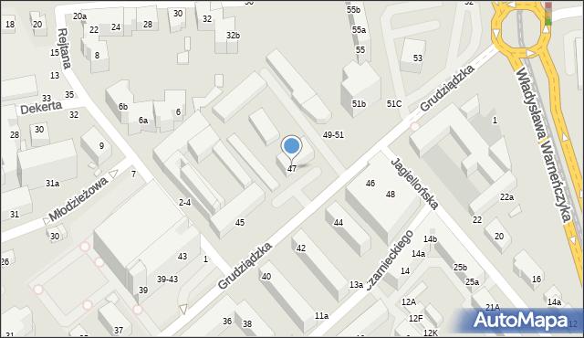 Toruń, Grudziądzka, 47, mapa Torunia