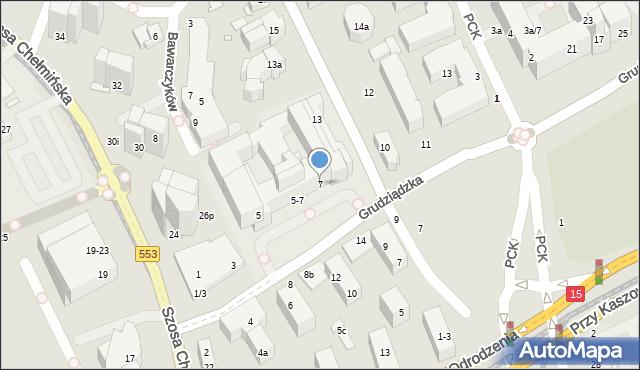 Toruń, Grudziądzka, 7, mapa Torunia