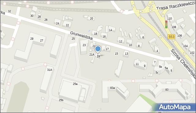 Toruń, Grunwaldzka, 19, mapa Torunia
