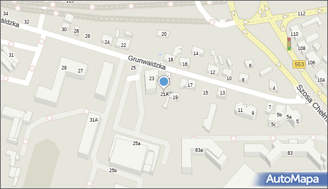 Toruń, Grunwaldzka, 21A, mapa Torunia