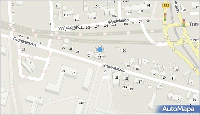 Toruń, Grunwaldzka, 22, mapa Torunia