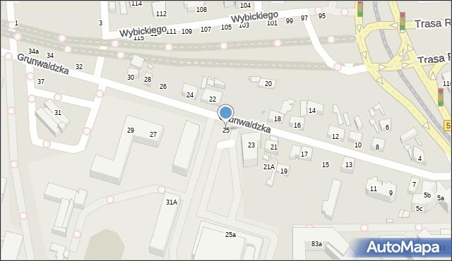 Toruń, Grunwaldzka, 25, mapa Torunia