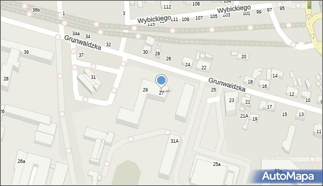 Toruń, Grunwaldzka, 27, mapa Torunia