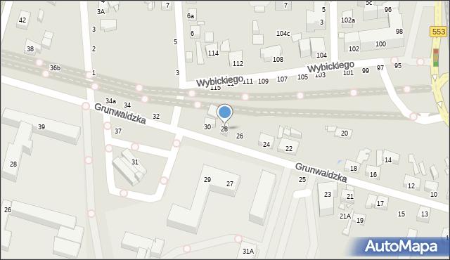 Toruń, Grunwaldzka, 28, mapa Torunia
