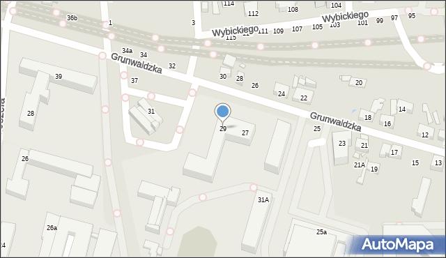 Toruń, Grunwaldzka, 29, mapa Torunia