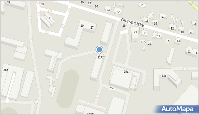 Toruń, Grunwaldzka, 31A, mapa Torunia