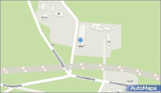 Toruń, Grunwaldzka, 64a, mapa Torunia