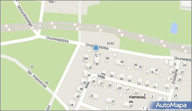 Toruń, Grunwaldzka, 71, mapa Torunia