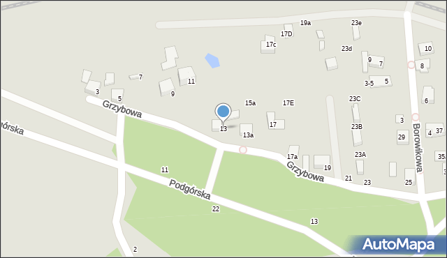 Toruń, Grzybowa, 13, mapa Torunia