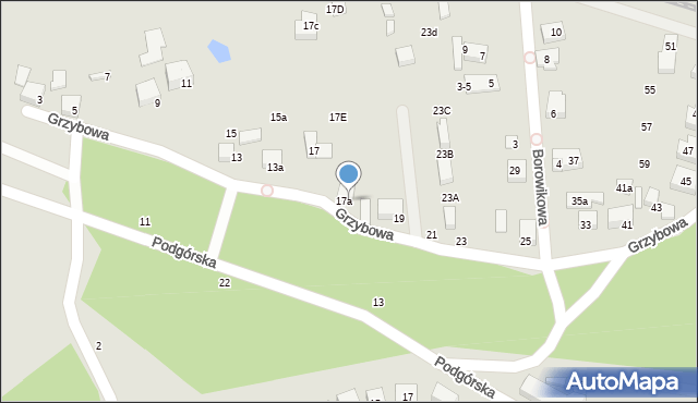 Toruń, Grzybowa, 17b, mapa Torunia