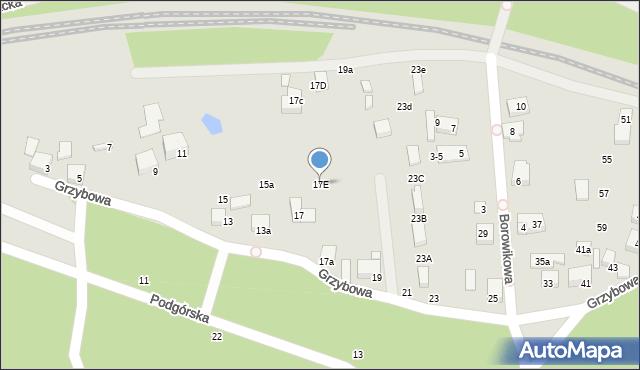 Toruń, Grzybowa, 17E, mapa Torunia