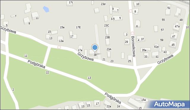 Toruń, Grzybowa, 19, mapa Torunia