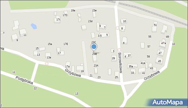 Toruń, Grzybowa, 23B, mapa Torunia