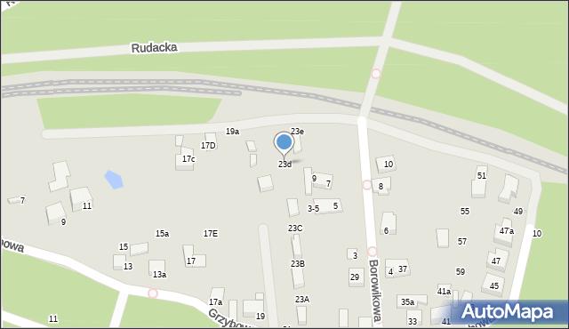 Toruń, Grzybowa, 23d, mapa Torunia