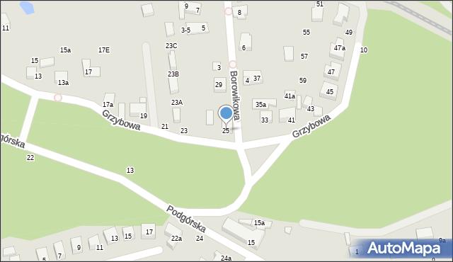 Toruń, Grzybowa, 25, mapa Torunia