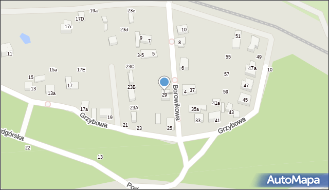 Toruń, Grzybowa, 29, mapa Torunia