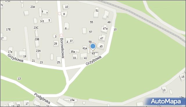 Toruń, Grzybowa, 43, mapa Torunia