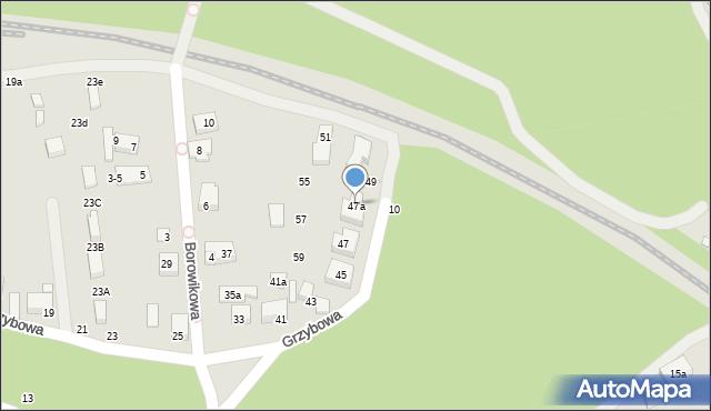 Toruń, Grzybowa, 47a, mapa Torunia