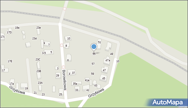 Toruń, Grzybowa, 55, mapa Torunia