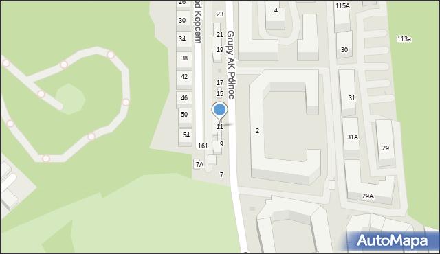 Warszawa, Grupy AK Północ, 11, mapa Warszawy