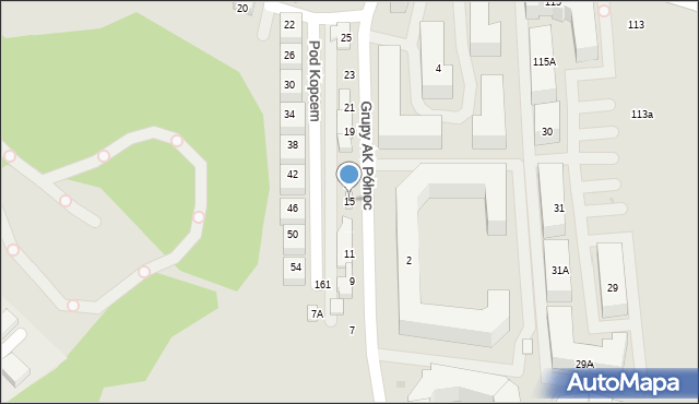 Warszawa, Grupy AK Północ, 15, mapa Warszawy