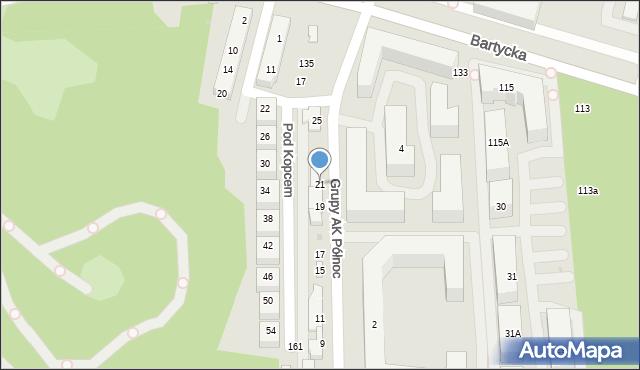 Warszawa, Grupy AK Północ, 21, mapa Warszawy