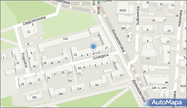 Warszawa, Grottgera Artura, 4, mapa Warszawy