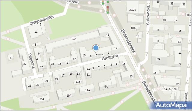 Warszawa, Grottgera Artura, 6, mapa Warszawy