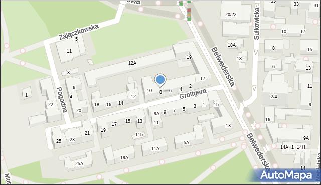 Warszawa, Grottgera Artura, 8, mapa Warszawy