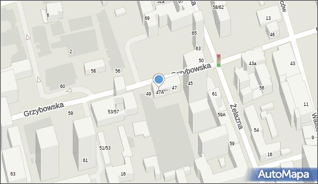 Warszawa, Grzybowska, 47A, mapa Warszawy