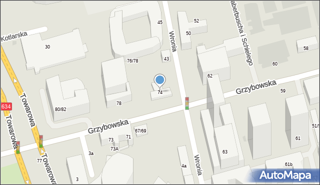 Warszawa, Grzybowska, 74, mapa Warszawy