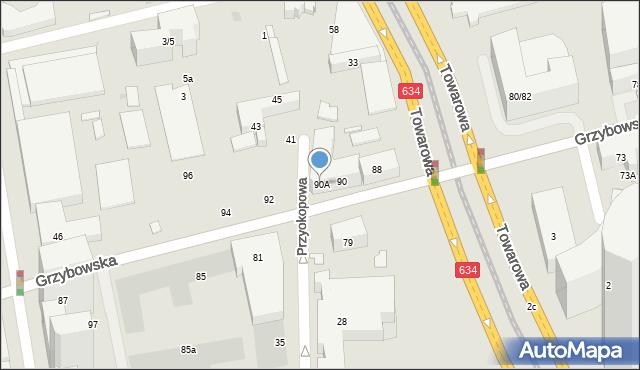 Warszawa, Grzybowska, 90A, mapa Warszawy