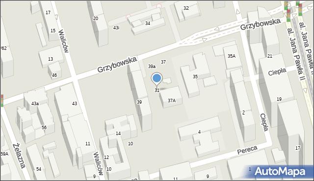 Warszawa, Grzybowska, 31, mapa Warszawy