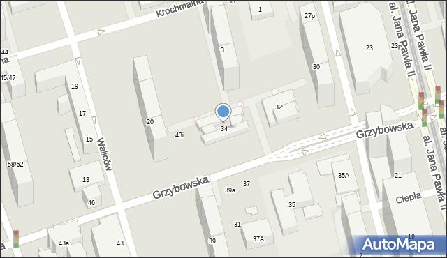 Warszawa, Grzybowska, 34, mapa Warszawy