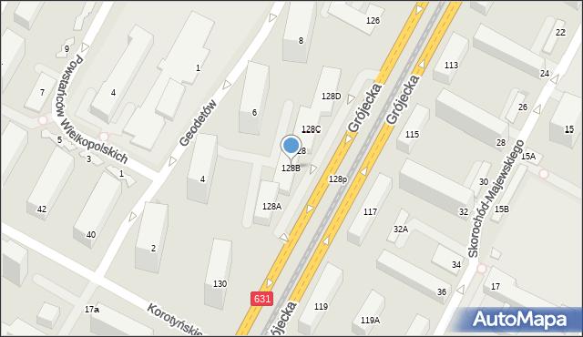 Warszawa, Grójecka, 128B, mapa Warszawy