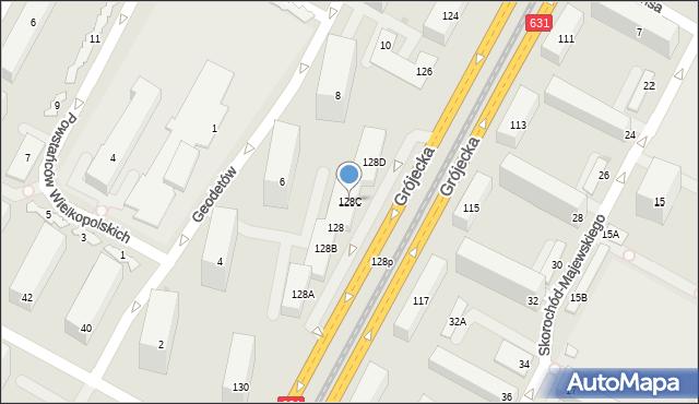 Warszawa, Grójecka, 128C, mapa Warszawy