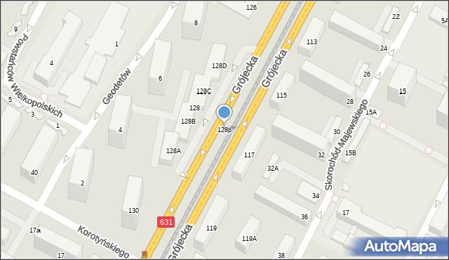 Warszawa, Grójecka, 128p, mapa Warszawy