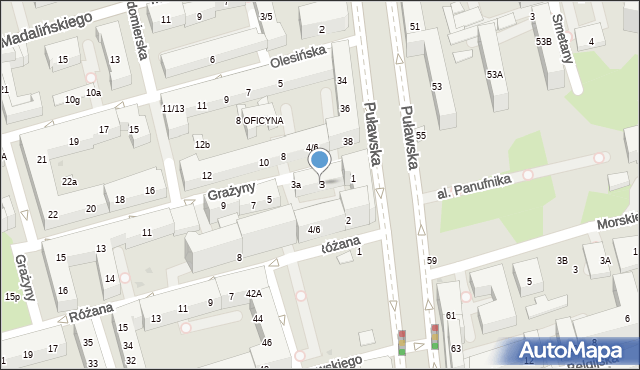 Warszawa, Grażyny, 3, mapa Warszawy