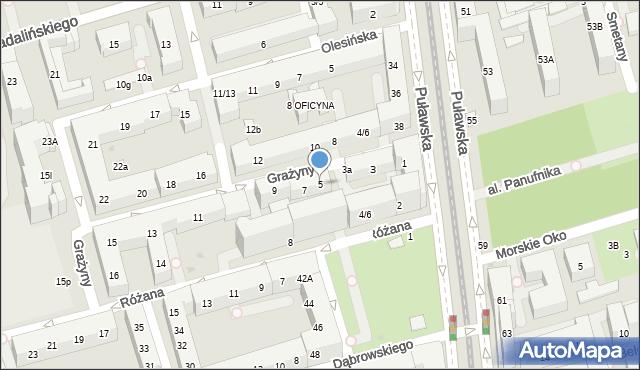 Warszawa, Grażyny, 5, mapa Warszawy