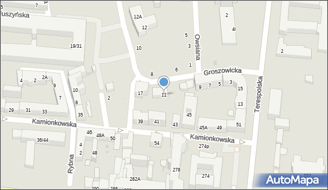 Warszawa, Groszowicka, 11, mapa Warszawy